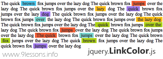 Jquery Link Color plugin